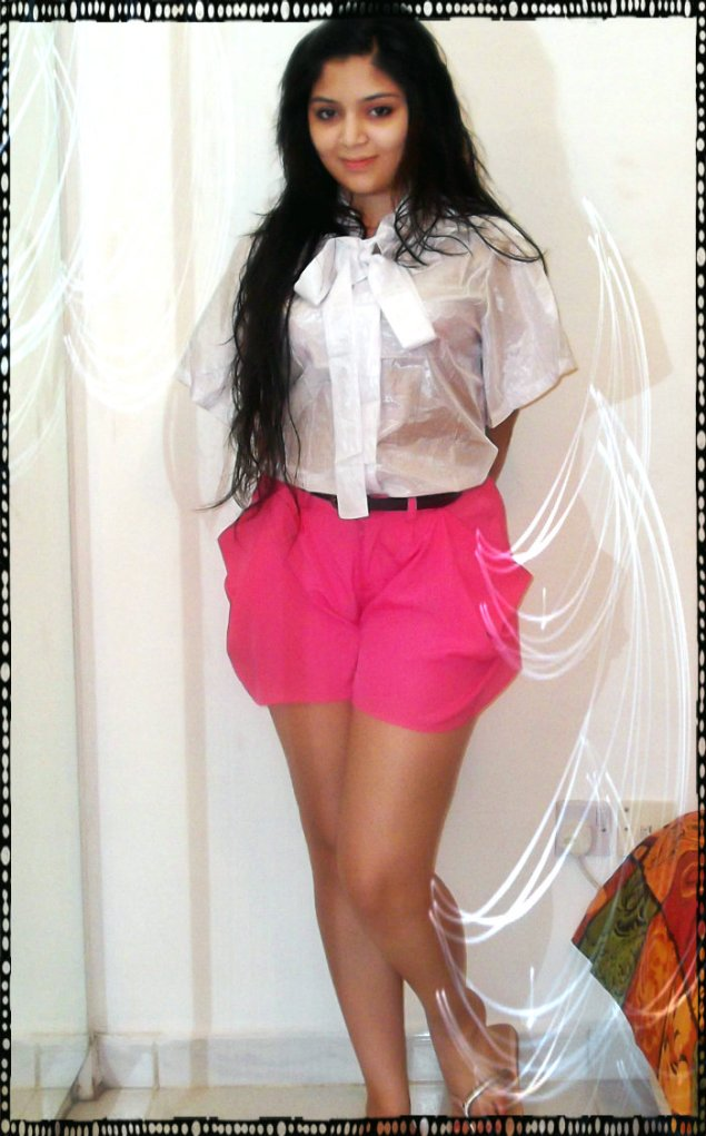 A Flounce Shirt With A Necktie - I paired it up with neon pink shorts.